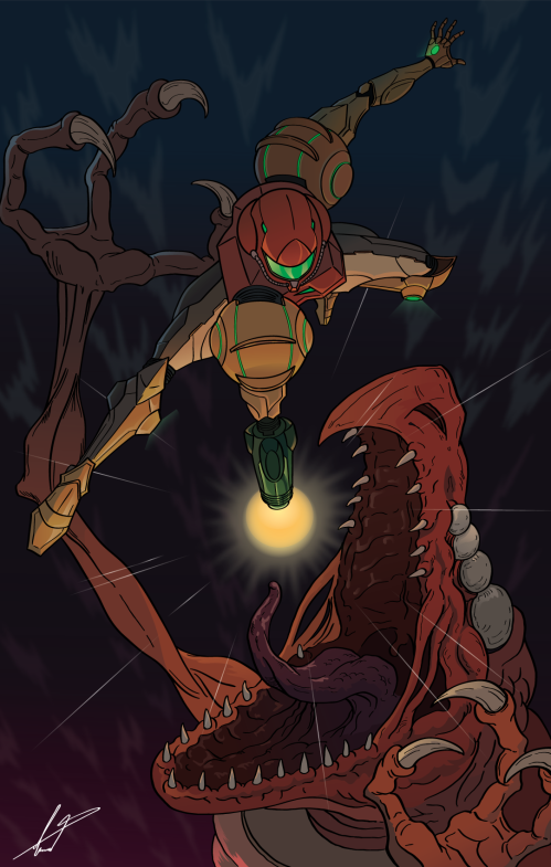 Beating Crocomire - (Supermetroid Fan art)